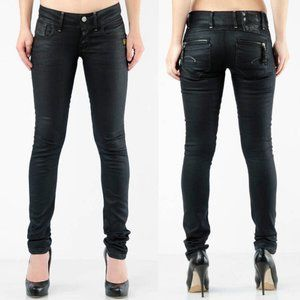 G-Star Raw Black Wax Coated Fender Skinny Jeans